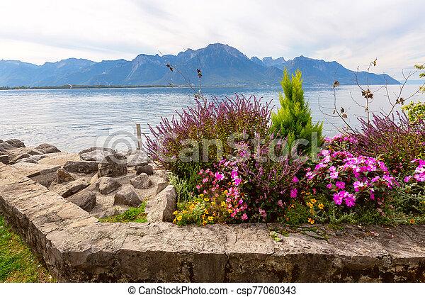 Montreux and Lake Geneva, Switzerland - csp77060343