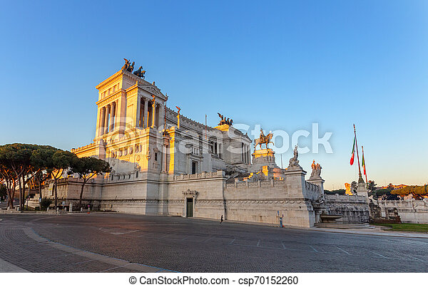 Monument of Victor Emmanuel on Venice Square in Rome . Italy. - csp70152260