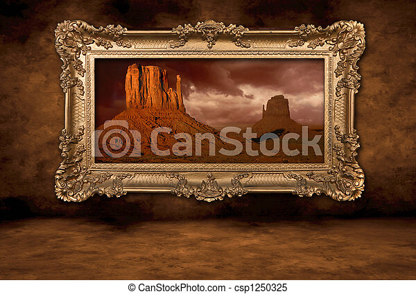 Monument Valley Panorama in a Vintage Boroque Frame - csp1250325