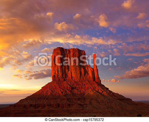 Monument Valley West Mitten at sunset sky - csp15795372