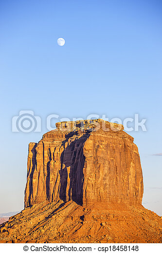 Monument Valley with moon - csp18458148