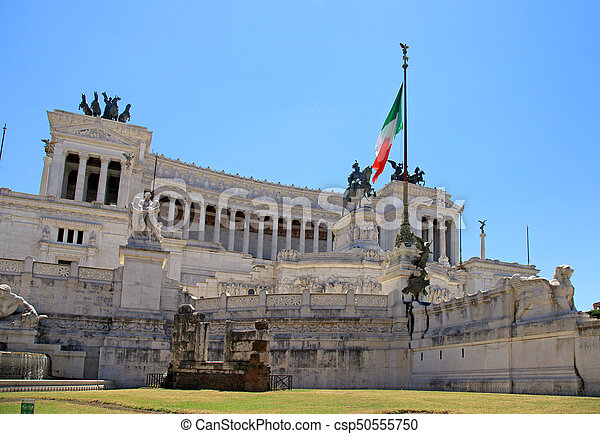 Monument Vittorio Emanuele II or Altar of the Fatherland in Rome, Italy. - csp50555750