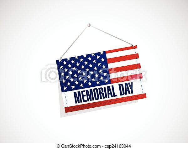 Día conmemorativo nosotros colgando ilustraciones de bandera - csp24163044