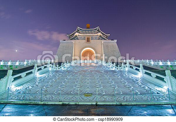 La sala de recuerdos de Chiang Kai Shek por la noche - csp18990909