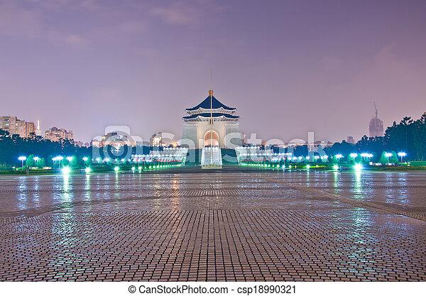 La sala de recuerdos de Chiang Kai Shek por la noche - csp18990321