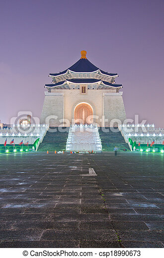 La sala de recuerdos de Chiang Kai Shek por la noche - csp18990673