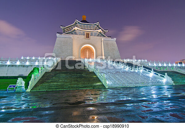 La sala de recuerdos de Chiang Kai Shek por la noche - csp18990910