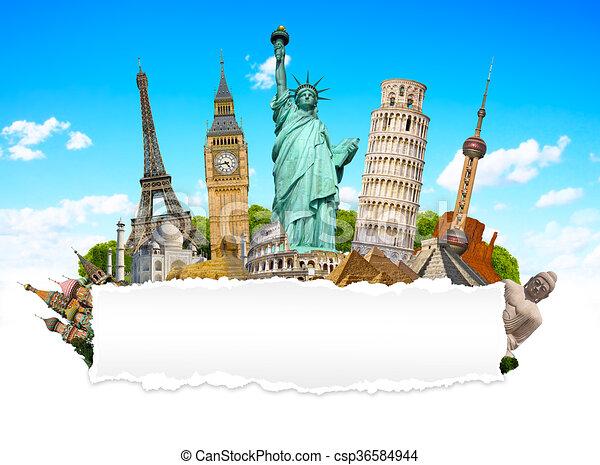 Monumentos famosos del mundo con papel en blanco - csp36584944