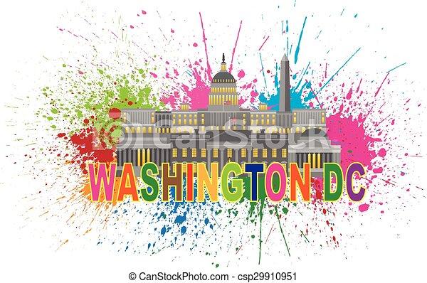 monumentos, salpicadura, señales, washington dc, ilustración - csp29910951