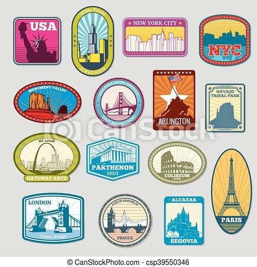 monumentos famosos mundiales y marcas de vectores etiquetas, emblemas - csp39550346