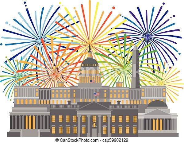monumentos, señales, fuegos artificiales, washington dc, ilustración - csp59902129