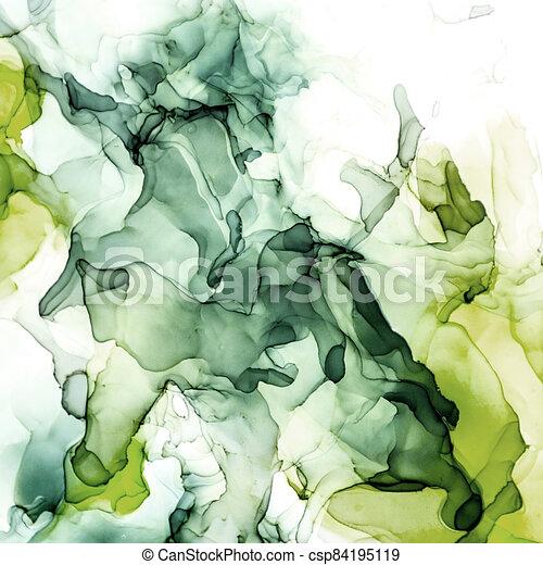 Moody Green shades watercolor background, wet liquid - csp84195119