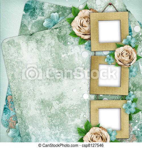 mooi, album, stijl, pagina, plakboek - csp8127546