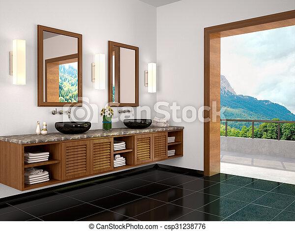 Interieur Natuur Badkamer : Mooi badkamer natuur enviroment illustratie interieur d