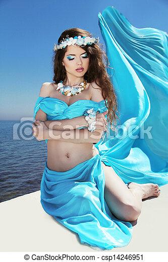mooi, blauwe , vrouw, enjoyment., op, freshness., kosteloos, summertime., weefsel, blazen, meisje, sky., vrolijke , het genieten van - csp14246951