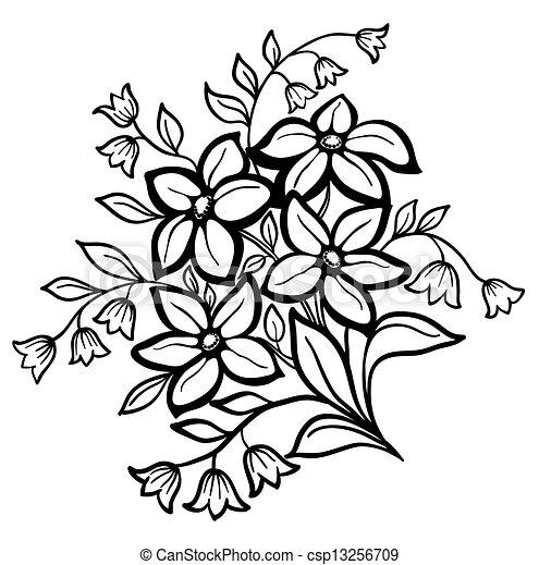 mooi, bloem, schets, regeling, zwarte achtergrond, witte  - csp13256709
