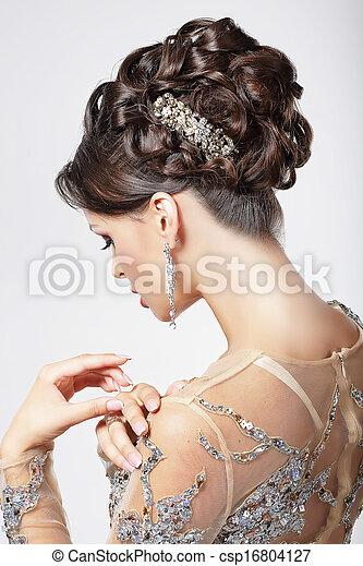mooi, brunette, hairstyle., elegantie, luxe, fijn, chic. - csp16804127