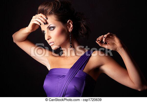 mooi, brunette, mode, viooltje, sexy, meisje, jurkje - csp1720639