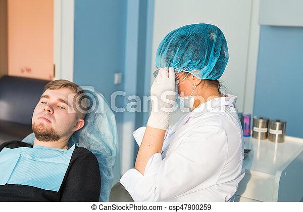 mooi, gegeven, wezen, dentaal, omringde, tandarts, care, inspectie, concept., man - csp47900259