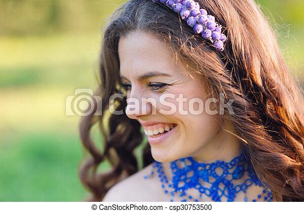 mooi, genieten, vrouw, jonge, natuur - csp30753500