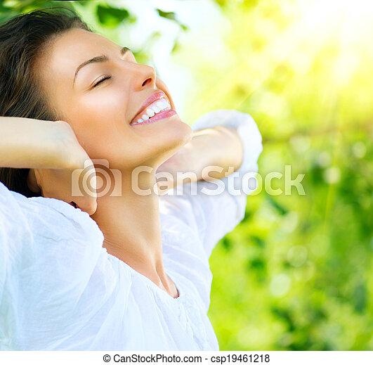 mooi, genieten, vrouw, natuur, outdoor., jonge - csp19461218