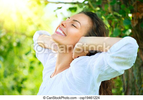 mooi, genieten, vrouw, natuur, outdoor., jonge - csp19461224