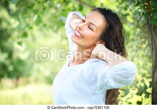 mooi, genieten, vrouw, natuur, outdoor., jonge - csp15361100