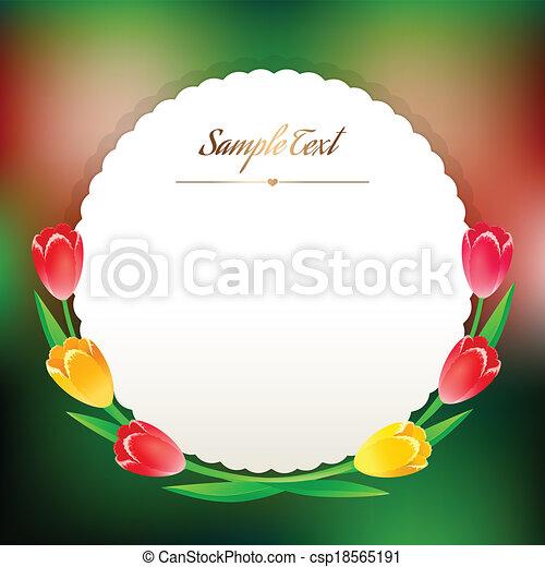 mooi, greating, lentebloemen, ronde, kaart - csp18565191