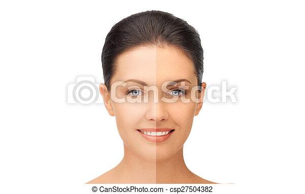 mooi, helft, vrouw, gelooide, gezicht - csp27504382