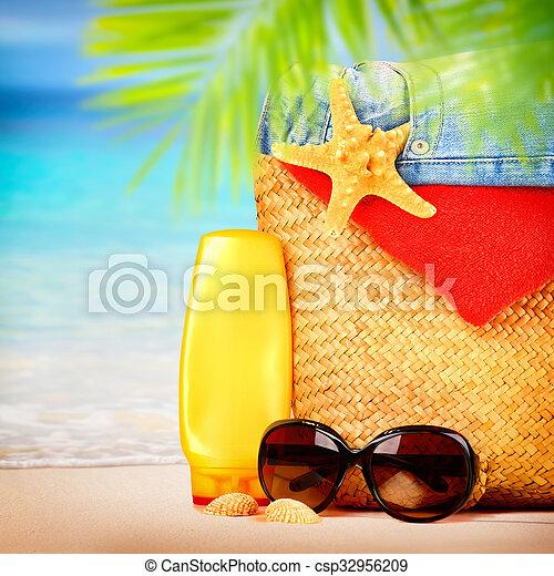 mooi, items, strand - csp32956209