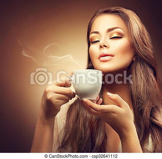 mooi, koffie, vrouw, jonge, warme, het genieten van - csp32641112