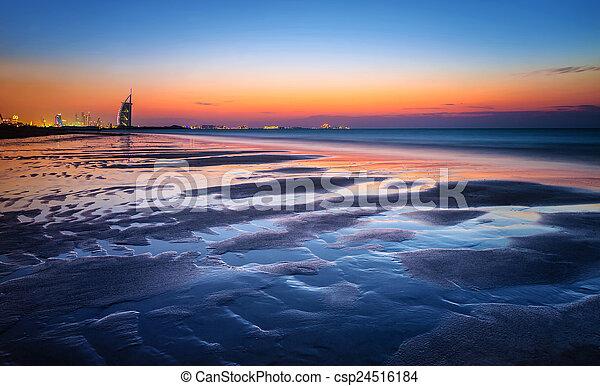 mooi, licht, strand, ondergaande zon  - csp24516184