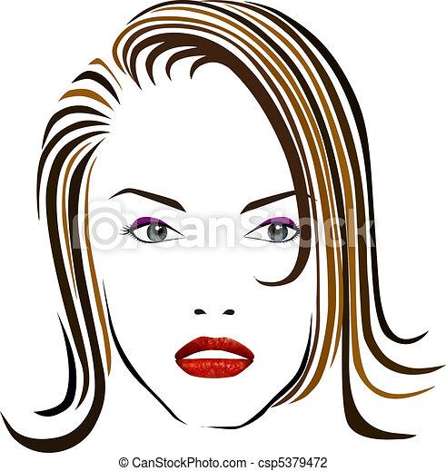 mooi, meisje, gezicht - csp5379472