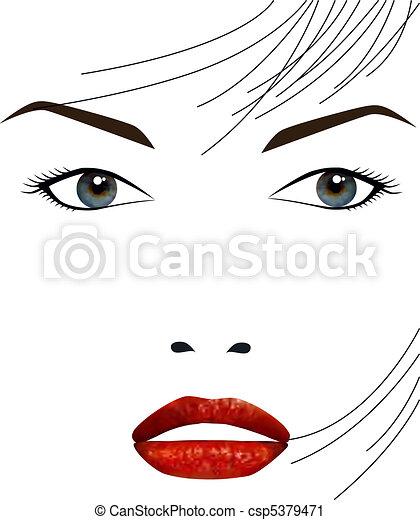 mooi, meisje, gezicht - csp5379471