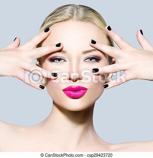 mooi, mode, haar, blonde , model, meisje - csp29423720