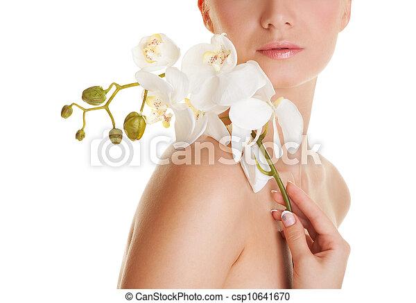 mooi, orchidee, bloem, vrouw - csp10641670