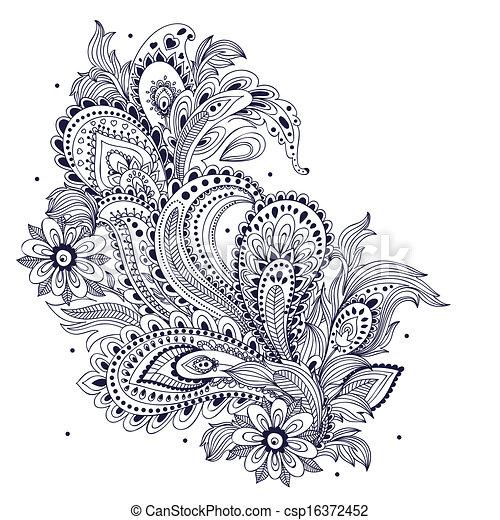 mooi, ouderwetse , ornament - csp16372452