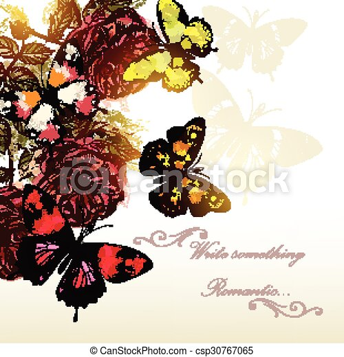 mooi, romantische, rozen, vlinder, vector, achtergrond, design.eps, evenementen - csp30767065