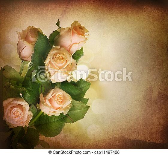 mooi, roze, toned, ouderwetse , sepia, roses., styled. - csp11497428