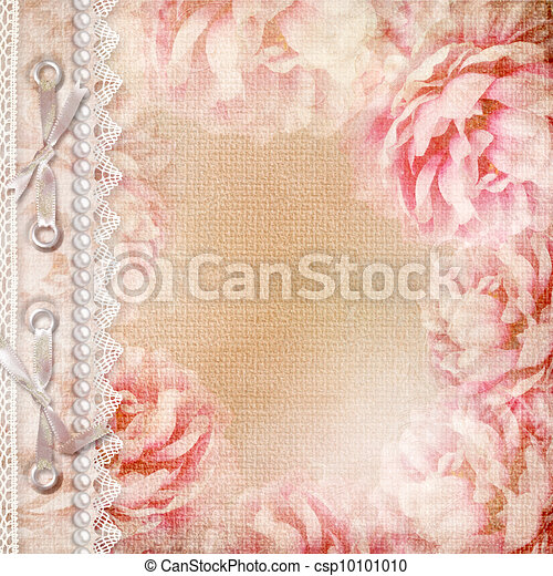 mooi, rozen, album, grunge, dekking - csp10101010