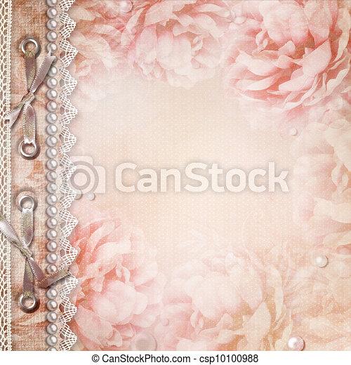 mooi, rozen, album, grunge, dekking - csp10100988