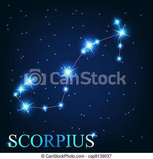 mooi, scorpius, sterretjes, hemel, kosmisch, meldingsbord, helder, vector, achtergrond, zodiac - csp9139037
