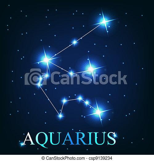 mooi, sterretjes, hemel, waterman, kosmisch, meldingsbord, helder, vector, achtergrond, zodiac - csp9139234
