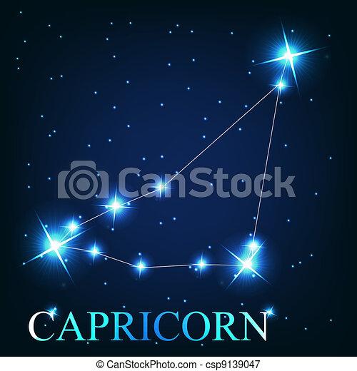 mooi, sterretjes, steenbok, hemel, kosmisch, meldingsbord, helder, vector, achtergrond, zodiac - csp9139047