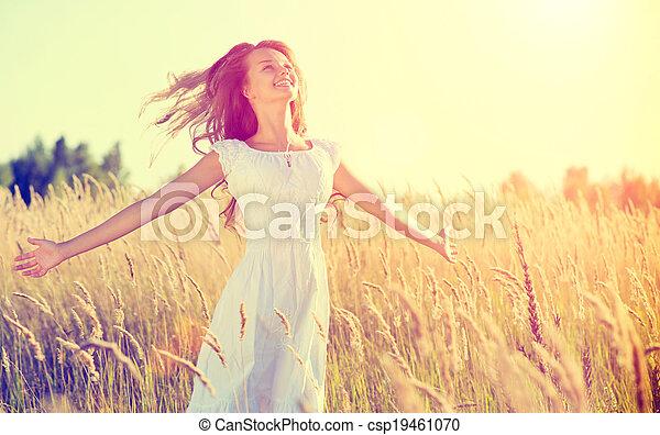 mooi, tiener, natuur, buitenshuis, meisje, het genieten van - csp19461070