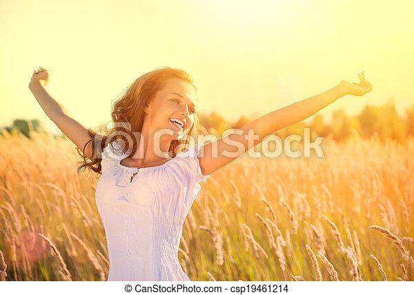mooi, tiener, natuur, buitenshuis, meisje, het genieten van - csp19461214