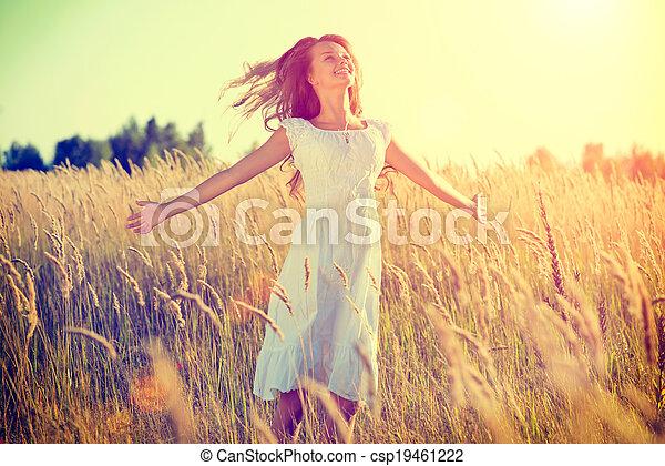 mooi, tiener, natuur, buitenshuis, meisje, het genieten van - csp19461222