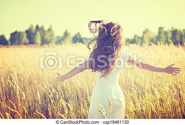 mooi, tiener, natuur, buitenshuis, meisje, het genieten van - csp19461130