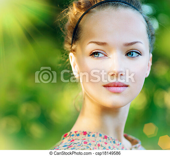 mooi, tiener, romantische, beauty, outdoor., meisje, model - csp18149586