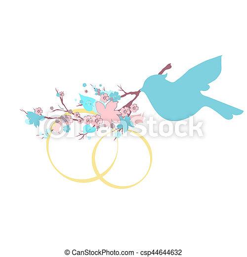 mooi, vogel, witte , tak - csp44644632
